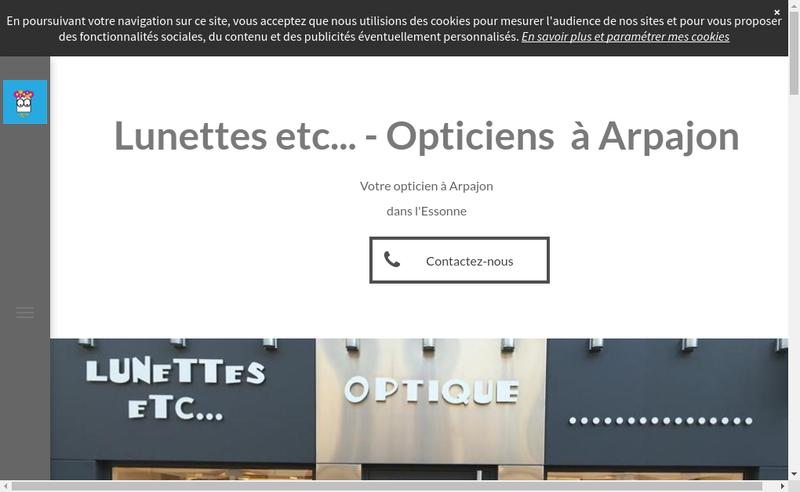 Capture d'écran du site de Lunettes Etc