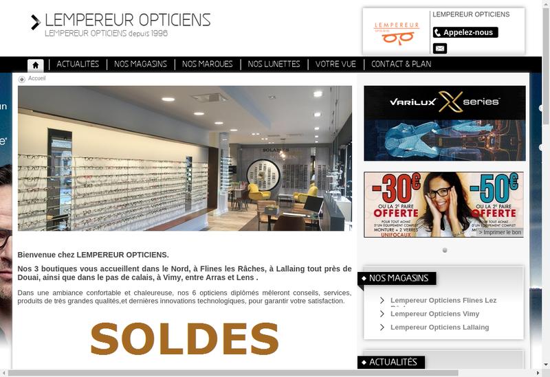 Capture d'écran du site de Lempereur Opticiens