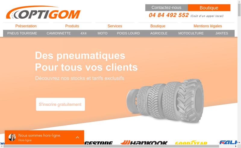 Capture d'écran du site de Optigom