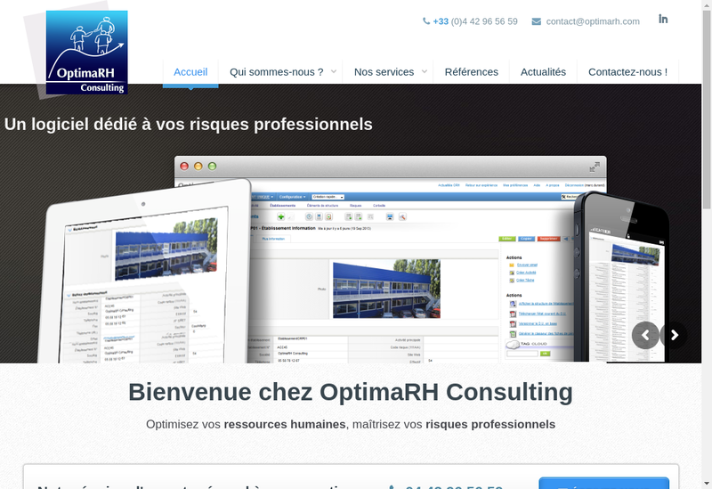 Capture d'écran du site de Optimarh Consulting-Formations- Manage