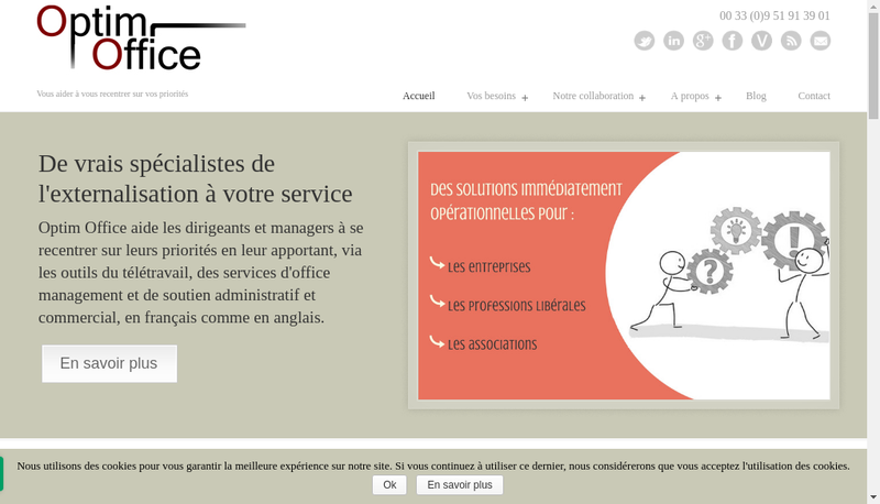 Capture d'écran du site de Optim Office