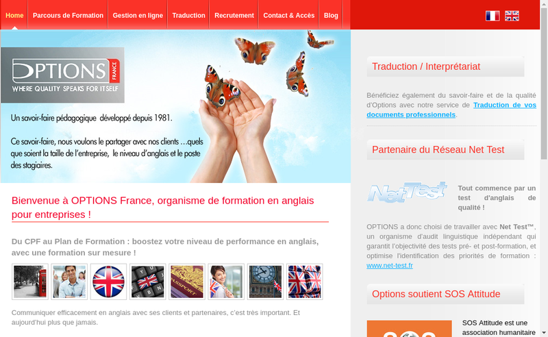Capture d'écran du site de Options