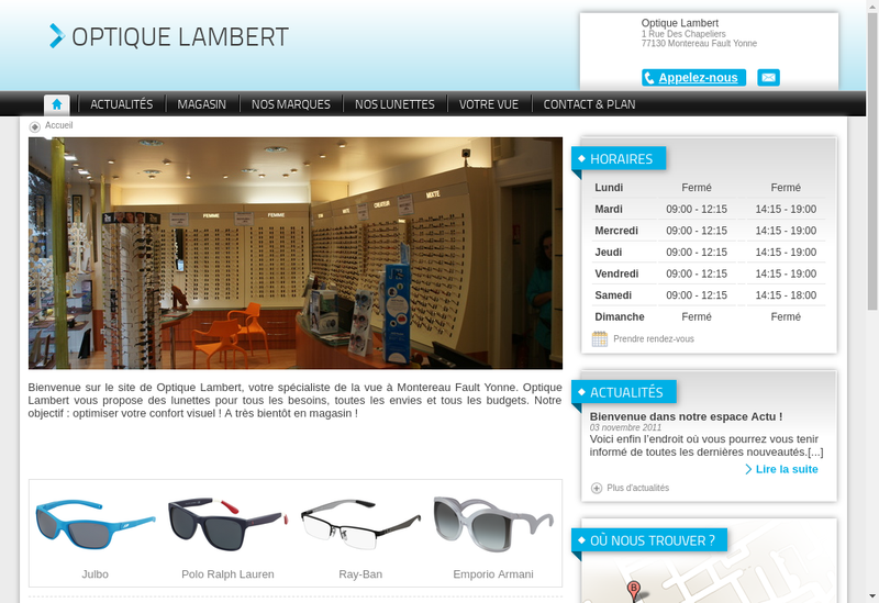 Capture d'écran du site de Optique Lambert