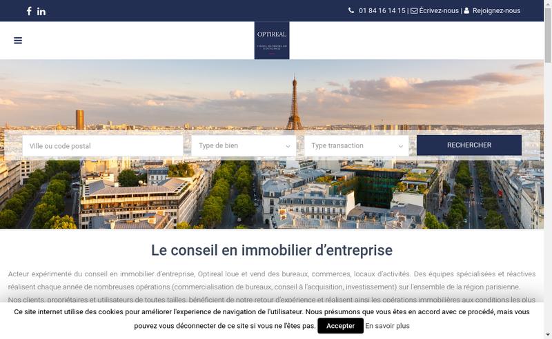 Capture d'écran du site de Optireal