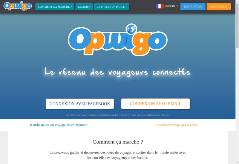 Capture d'écran du site de Opwigo