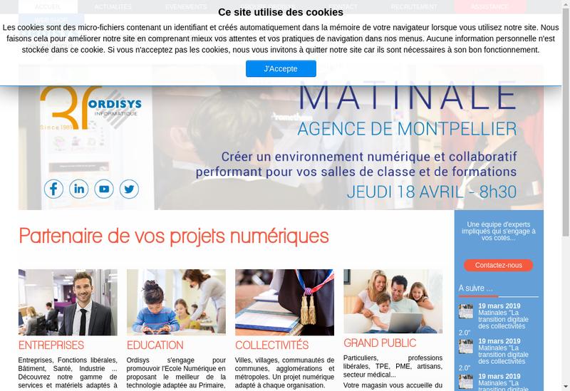 Capture d'écran du site de Ordisys