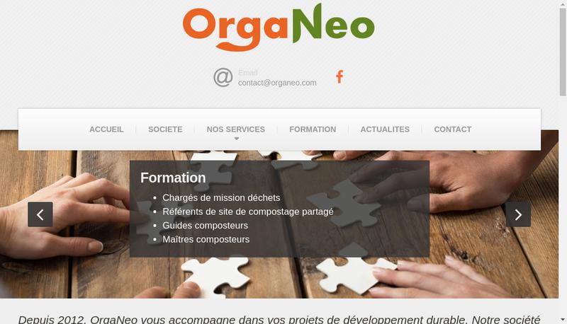 Capture d'écran du site de Organeo