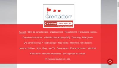 Site internet de Orient'Action Angers