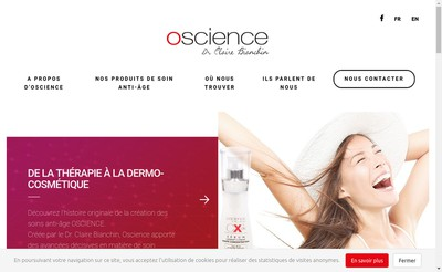 Site internet de Oscience By Claire Bianchin