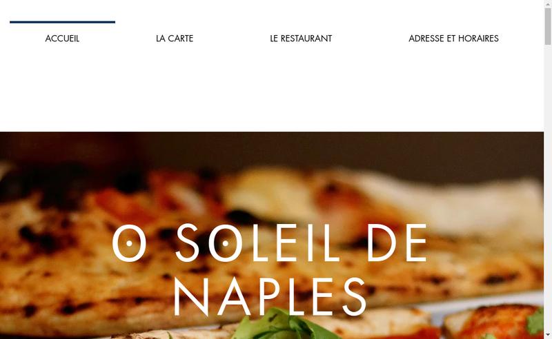 Capture d'écran du site de O Soleil de Naples