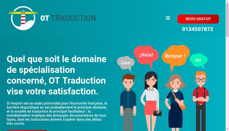Capture d'écran du site de Ot Traduction