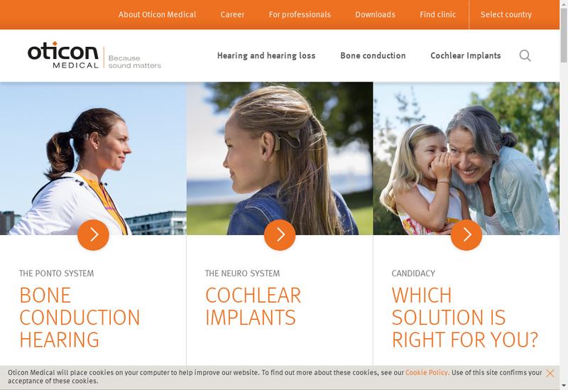 Capture d'écran du site de Oticon Medical