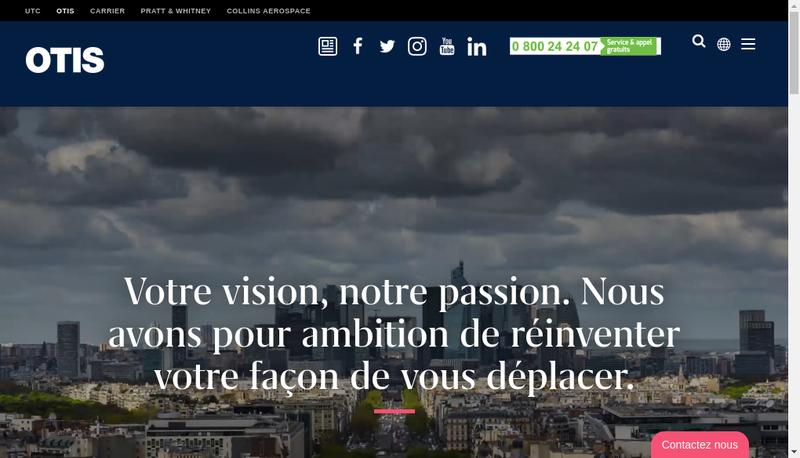 Capture d'écran du site de OTIS