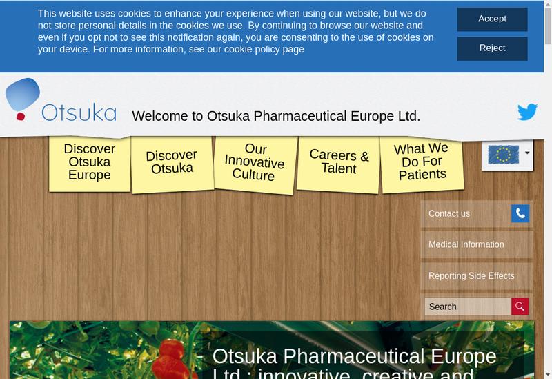 Capture d'écran du site de Otsuka Pharmaceutical France SAS