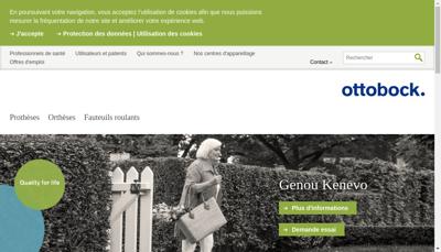 Capture d'écran du site de Otto Bock France