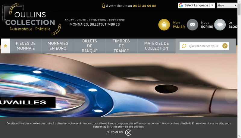 Capture d'écran du site de Oullins Collections