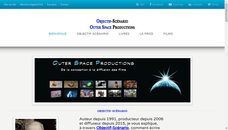 Capture d'écran du site de Outer Space Productions
