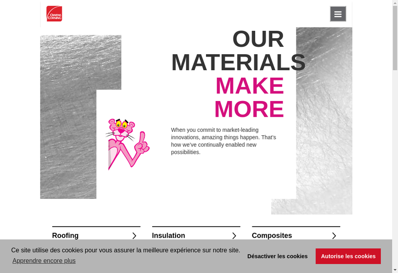 Capture d'écran du site de Owens Corning Fiberglas France