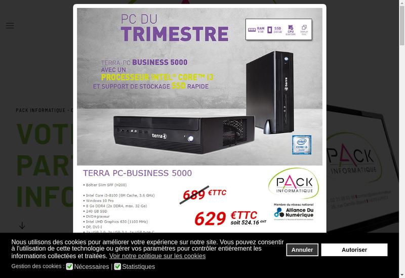 Capture d'écran du site de Pack Informatique