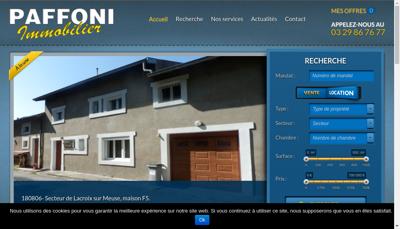 Capture d'écran du site de SARL Paffoni Immobilier