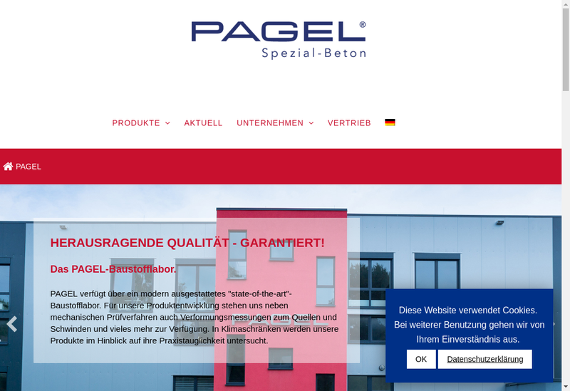 Capture d'écran du site de Pagel SAS