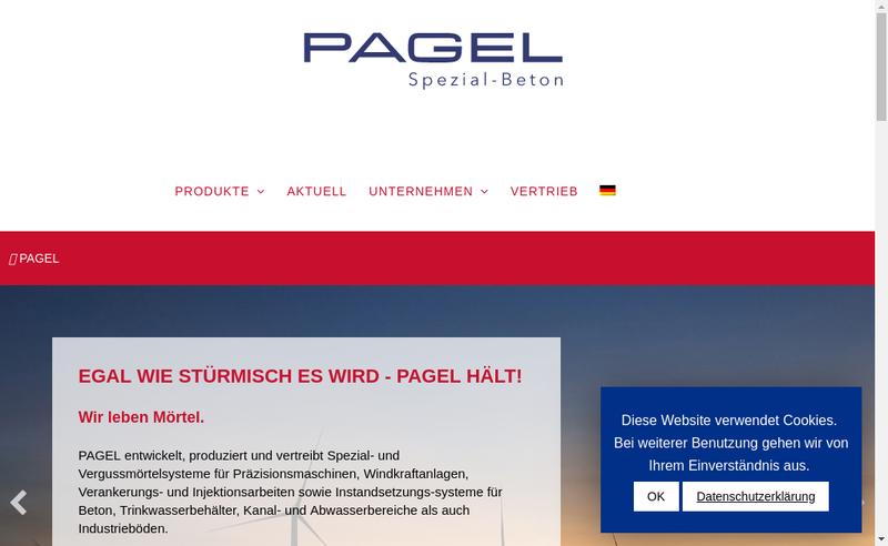 Capture d'écran du site de Pagel SAS