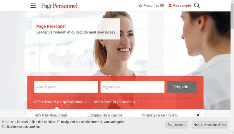 Capture d'écran du site de Page Personnel