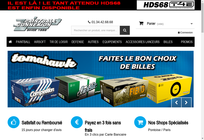 Capture d'écran du site de Paintball Connexion / Wicked Sportz d'