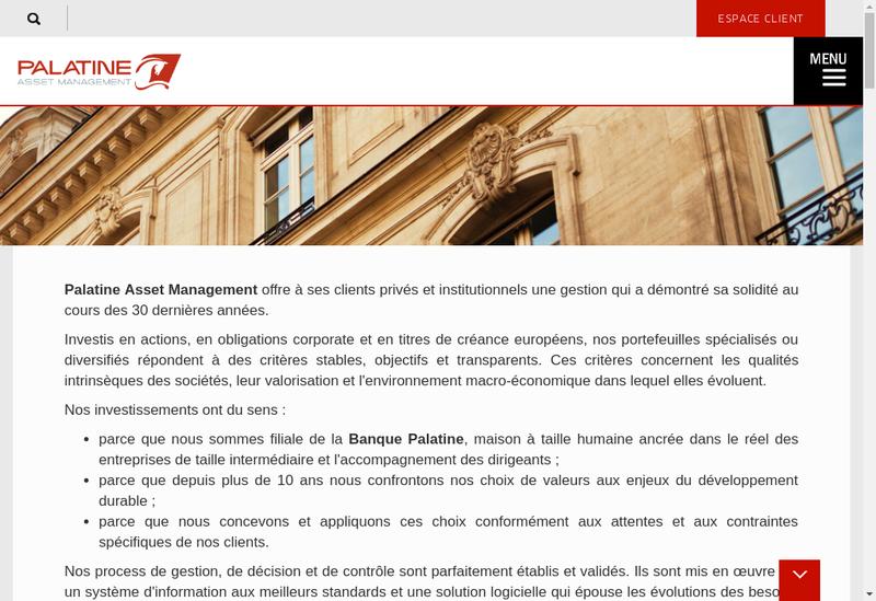 Capture d'écran du site de Palatine Asset Management