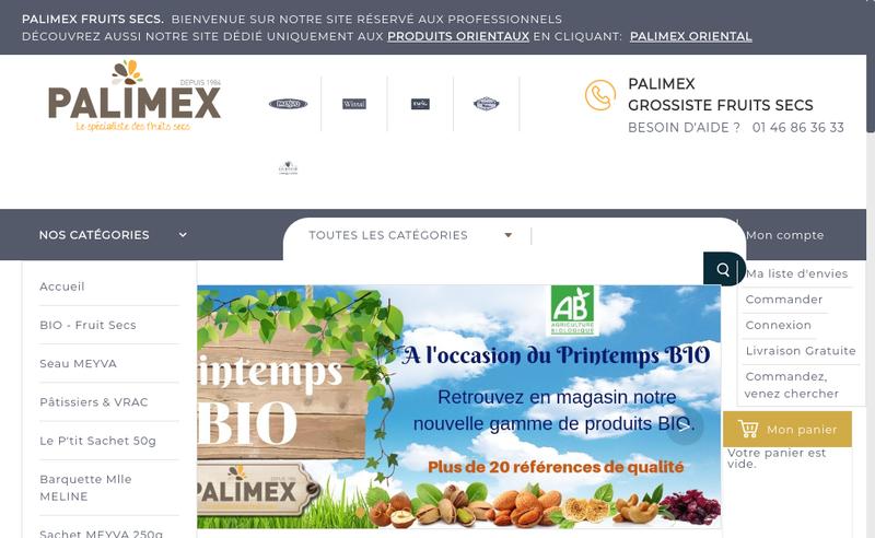 Capture d'écran du site de Palimex