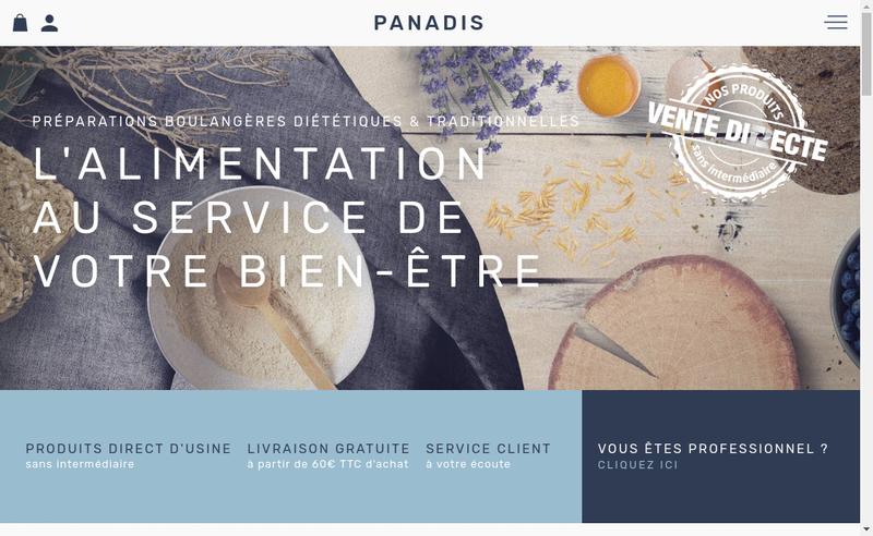 Capture d'écran du site de Panadis
