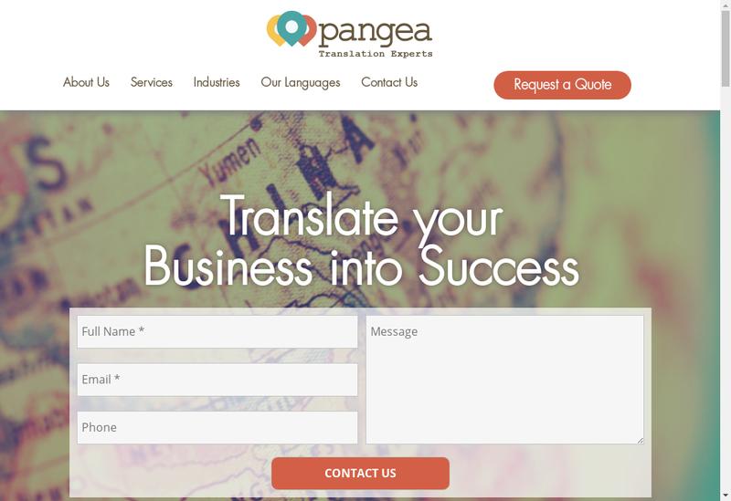Capture d'écran du site de Pangea Localization Services