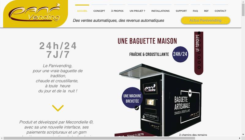 Capture d'écran du site de Pani Vending