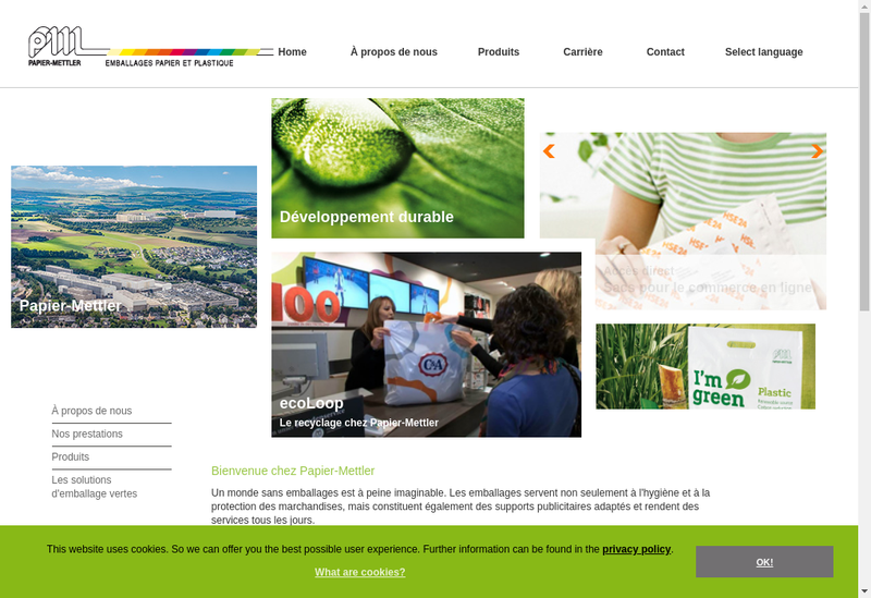 Capture d'écran du site de Papier Mettler France