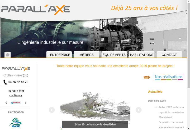 Capture d'écran du site de Parall Axe