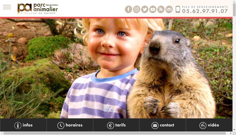 Capture d'écran du site de Parc Animalier des Pyrenees