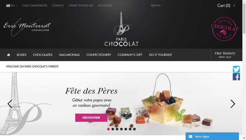 Capture d'écran du site de Paris Chocolat