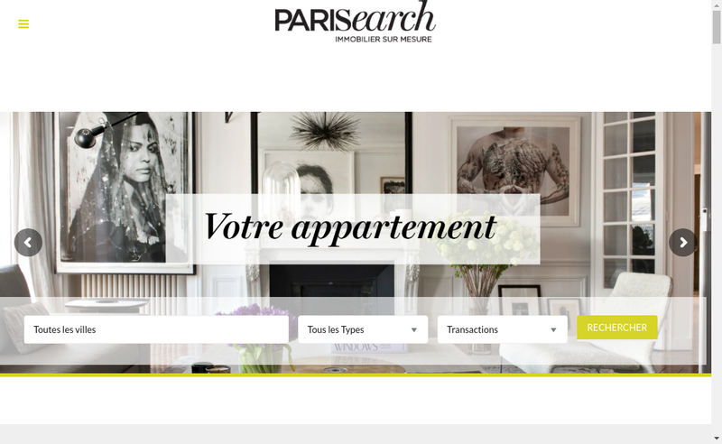 Capture d'écran du site de Parisearch