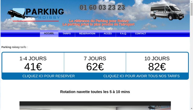 Capture d'écran du site de Parking Roissy