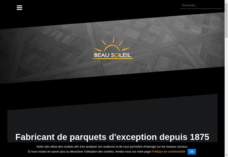 Capture d'écran du site de Parqueterie du Beau Soleil