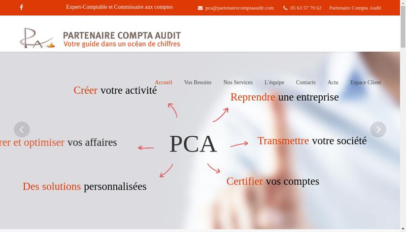 Capture d'écran du site de Partenaire Compta Audit