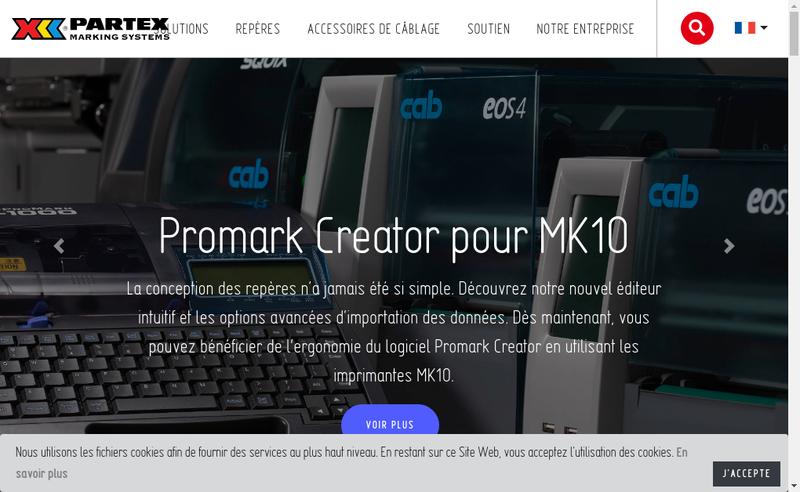 Capture d'écran du site de Partex