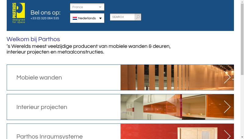 Capture d'écran du site de Parthos France SARL
