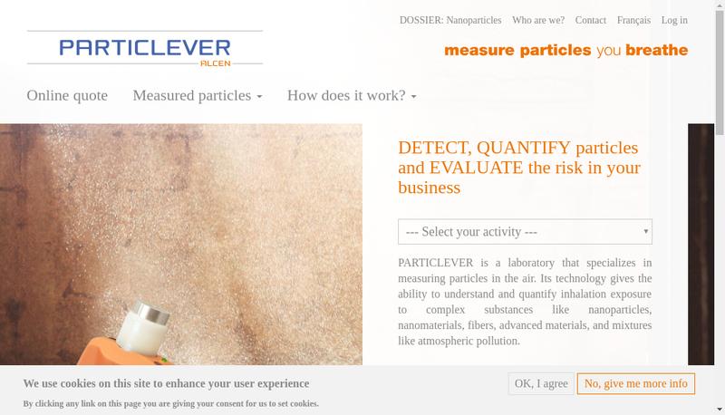 Capture d'écran du site de Particlever