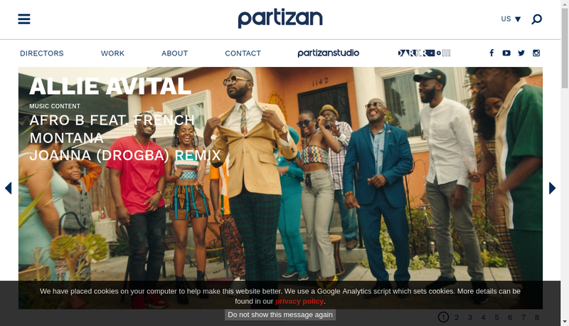 Capture d'écran du site de Partizan Films
