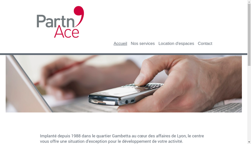 Capture d'écran du site de Partn Ace