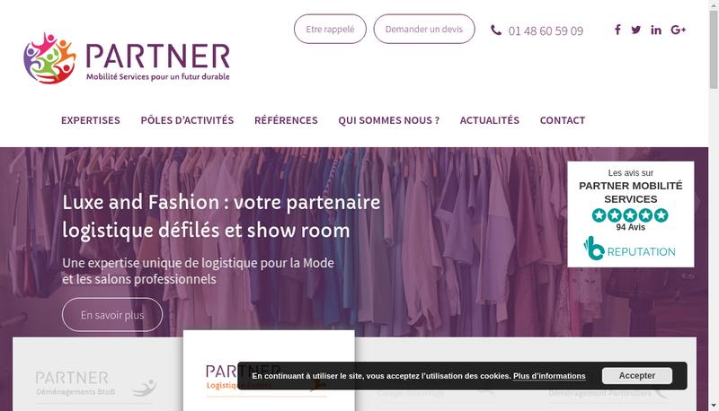 Capture d'écran du site de PARTNER Mobilité Services