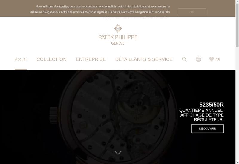Capture d'écran du site de Patek Philippe France