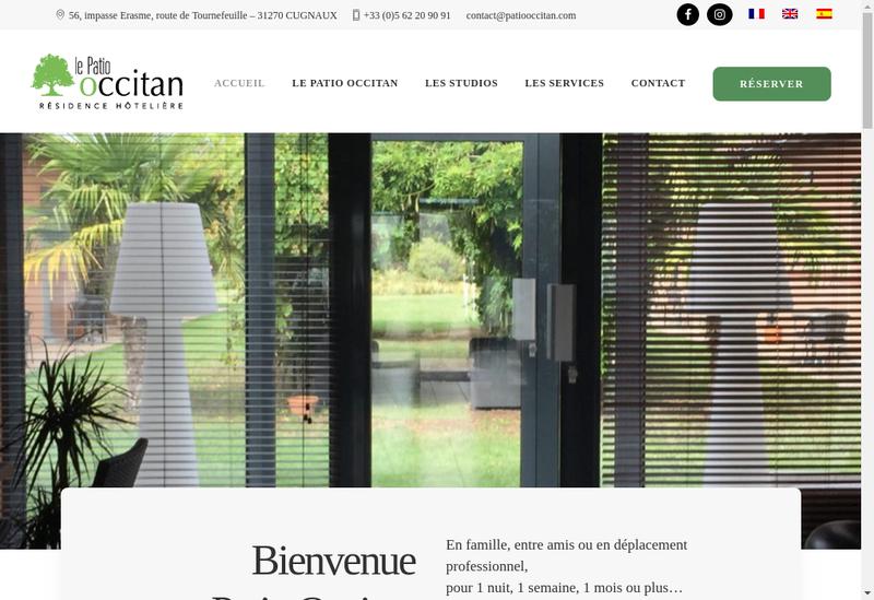 Capture d'écran du site de Le Patio Occitan