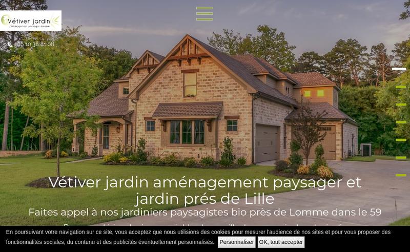 Capture d'écran du site de Vetiver Jardin